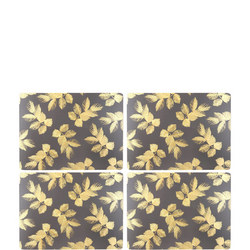 Etched Leaves Large Placemats Set of Four Dark Grey