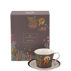 The Chelsea Collection Grey Birds Tea Cup & Saucer Brown
