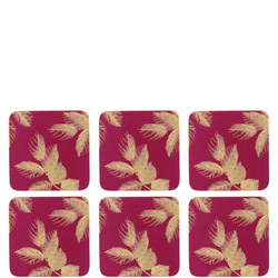 Etched Leaves Coasters Berry Pink