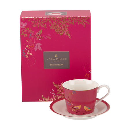The Chelsea Collection Pink Birds Tea Cup & Saucer Pink