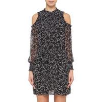 Star Print Cold Shoulder Dress Black