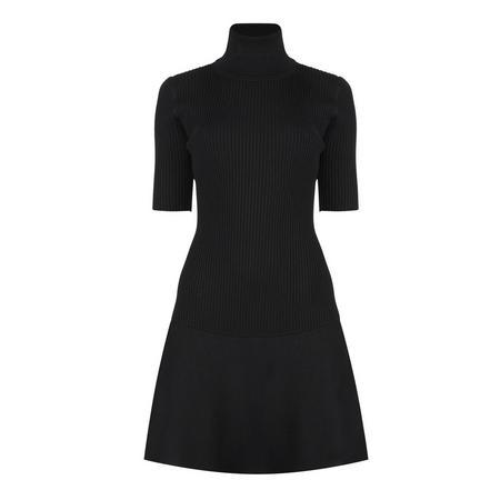 Ribbed Turtleneck Dress Black