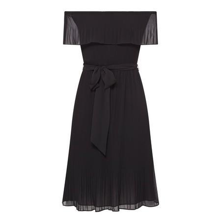 Pleated Chiffon Off-The-Shoulder Dress Black
