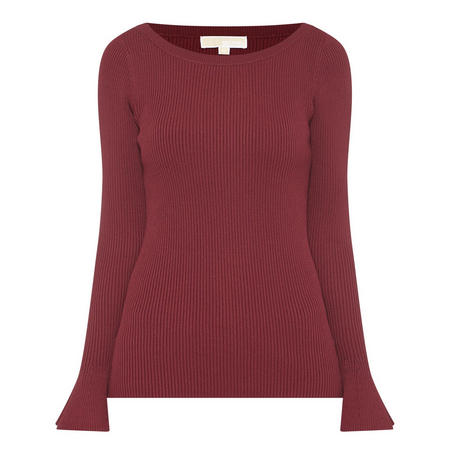 Ribbed Boat Neck Sweater Wine
