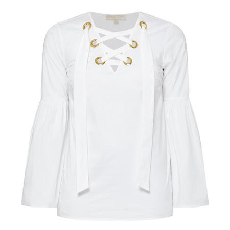 Lace-Up Top White