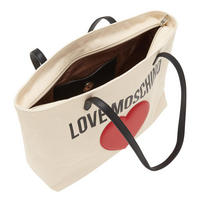 Heart Canvas Shopper Bag Beige