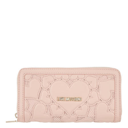 Heart Leather Wallet Pink