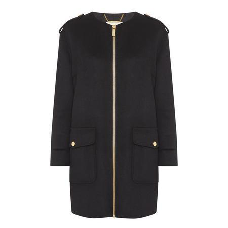 Zip-Through Coat Black