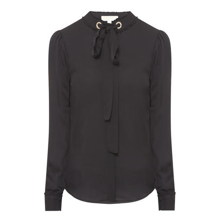 Tie Neck Blouse Black