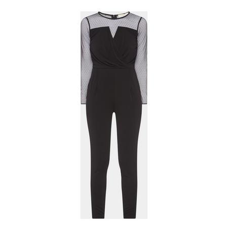 Mesh Wrap Jumpsuit Black