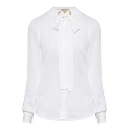 Tie Neck Blouse White