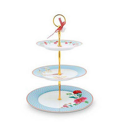 Cake Stand 3 Layers Floral Blue