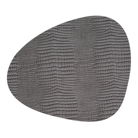 Table Mat Curve 37X44Cm Croco Silver-Black