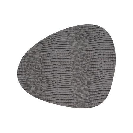 Table Mat Curve 24X28Cm Croco Silver-Black