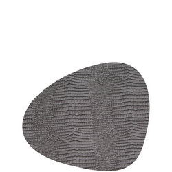 Table Mat Curve 24X28Cm Croco Silver-Black