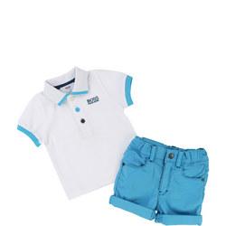 Polo Shirt And Shorts Set Turquoise Blue