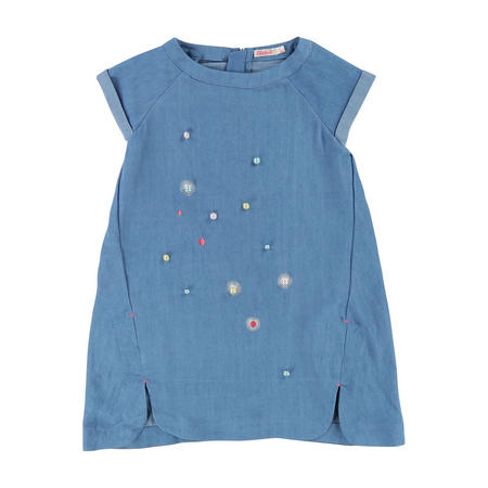 Embellished Denim Dress Blue