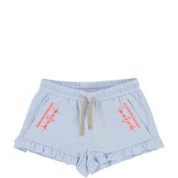 Ruffled Stripe Shorts Blue