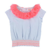Ruffle Collar Blouse Blue