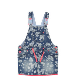 Printed Pinafore Dress Blue