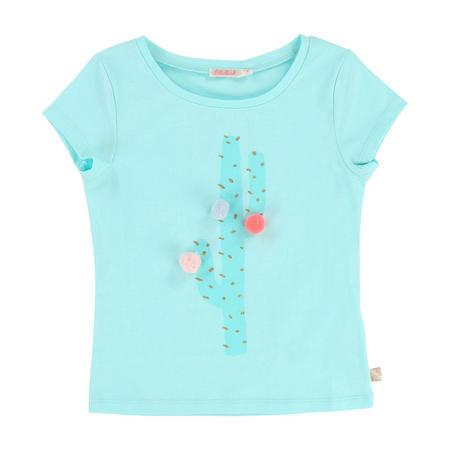 Cactus Pom Pom T-Shirt Blue
