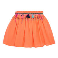 Girls Cheesecloth Beaded Skirt Coral