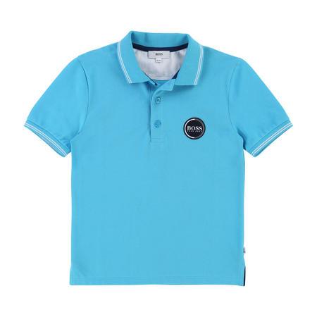 Badge Polo Shirt Turquoise Blue