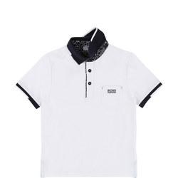 Contrast Collar Polo Shirt White
