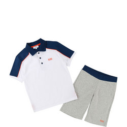 Polo Shirt and Shorts Set White