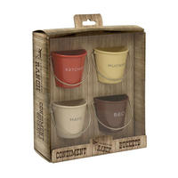 Set of 4 Ketchup, Mustard, Mayo and BBQ Buckets Multicolour