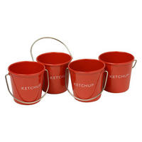 Set of 4 Ketchup Sauce Buckets Red
