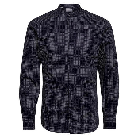 Nee China Collar Formal Shirt Blue