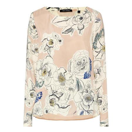 Floral Sketch Blouse Beige
