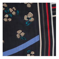 Flower Stripe Scarf Black