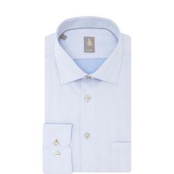 Custom Fit Herringbone Shirt Blue