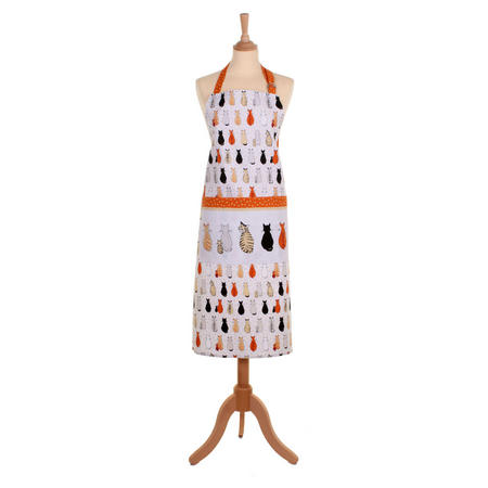 Cats In Waiting Cotton Drill Apron White
