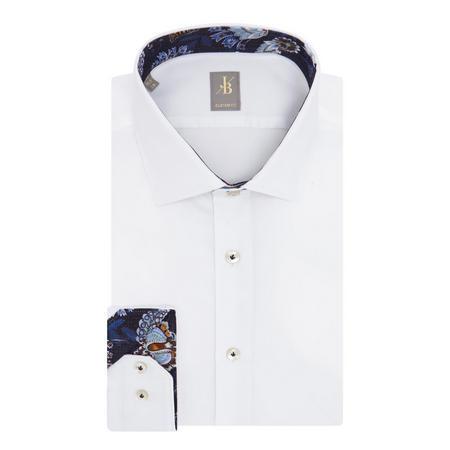 Floral Trim Custom Fit Shirt White
