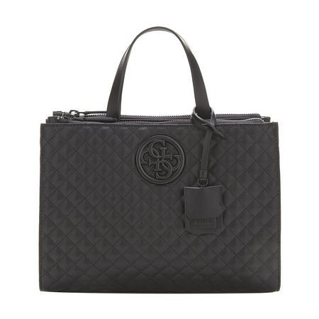 Velvet Quilted Satchel Bag Black