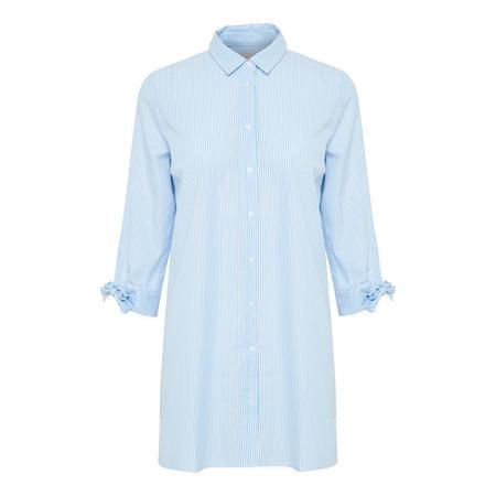 Breanna Tie Cuff Longline Blouse Blue