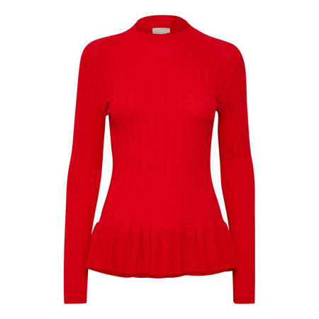 Tilla Frilled Hem Sweater Red