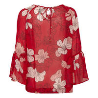 Begonia Frill Sleeve Floral Blouse Red