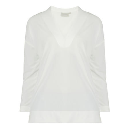 V-Neck 3/4 Sleeve Blouse White
