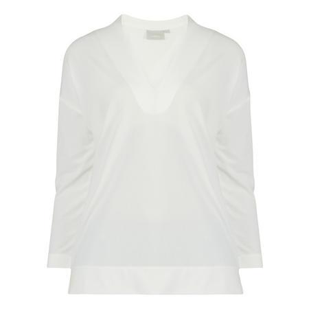 V-Neck 3/4 Sleeve Blouse White