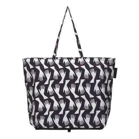 Hug Print Foldaway Shopper Bag Black