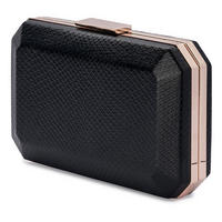Asmi Snakeskin Embossed Pod Clutch Black