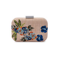 Lani Floral Embroidered Pod Clutch Navy