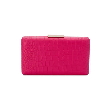 Milan Crocodile Embossed Pod Clutch Pink