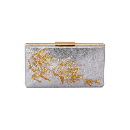 Tesla Embroidered Box Clutch Silver-Tone