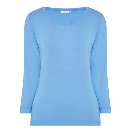 Basic Three-Quarter-Length Sleeve T-Shirt Blue