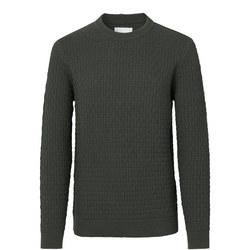 Textured Crew Neck Sweater Green